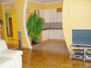 Дизайн кухни совмещенной с залом